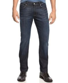 7 For All Mankind Men's Slimmy Slim Straight Fit Stretch Jeans, Los Angeles Dark - Blue