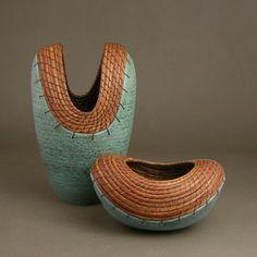 Ceramic and pine needle baskets by Hannie Goldgewicht