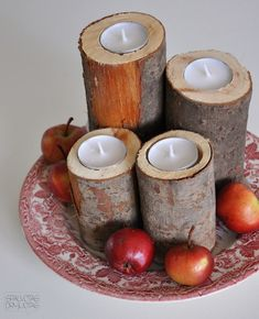 Medžio kamieno žvakidės | SDblog Wooden Candle Holders, Silent Auction, Some Ideas, Wooden Diy, Ants, Diy Tutorial, Diy Crafts, Candles, Christmas