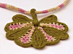 Irish Crochet Necklace Icord Honeysuckle Pink by Nothingbutstring