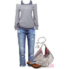 great weekend outfit Idea.  I like the layers and off the shoulder top shirt with tank under.  Its feminine but relaxed.  A brighter color would be nice tho.
