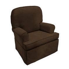 The Taylor Classic Swivel Glider in Chocolate Velvet features comfort style and smooth gliding support for your nursery room or any room around the home. It provides a strong tubular steel base for lasting durability and a remarkably soft seat made of high quality foam. A matching gliding upholstered ottoman is also sold separately.