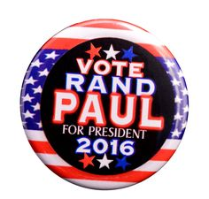 Pack-1 Rand Paul 2016 President Pinback Button Buttons are 2.25 inches round with a pin on back and have hard mylar covering that protects fade resistant pigment ink. Hand polished and individually bagged in cellophane bag Made in USA $11.00 with free shipping from amazon