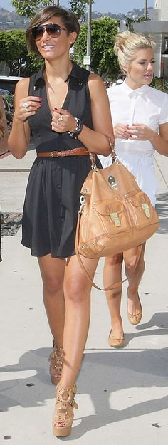 tan assessories with a black dress