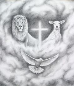 """""""The Lion and the Lamb"""" (Jesus) artwork image, charcoal drawing. The Lion of Judah on one side, the Lamb of God on the other with the Holy Spirit as a dove descending and a cross. This is an illustration for a book about Aslan from the Chronicles of Narnia by C.S. Lewis. Revelation 5:5, """"See, the Lion of the tribe of Judah...has triumphed."""""""