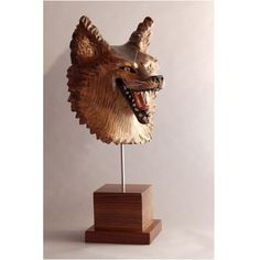 Grinning Coyote Mask woodcarving by Jason Tennant by jasontennant