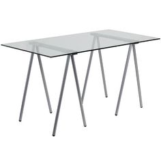 This spacious #Glass Desk has an architectural appeal with its leg design. This desk shows off a sleek appeal that will complement any contemporary work space. [...