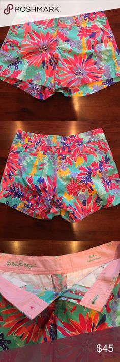 "Lilly Pulitzer Callahan Shorts Callahan Shorts in Trippin N Sippin. Very cute!! I ordered the wrong size, which is the only reason I'm selling them! Never worn by me! No signs of wear. Vibrant colors. 5"" inseam. Lilly Pulitzer Shorts"