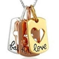 Three metal tabs with Faith Hope and Love etched on three different colors grace this 18 necklace.   #DCP #CatholicProducts #Faith #Hope #Love