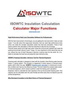 ISOWTC Insulation Calculation Calculator Software Major Functions by Isowtc.com  via slideshare