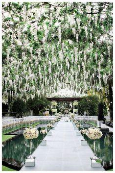 Romantic wedding ceremony aisle