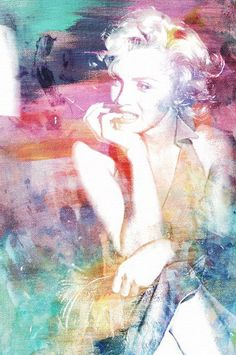 Canvas print portrait of Marilyn Monroe with a watercolor-inspired overlay.