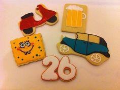 Galleta coche, vespa, cerveza y bob esponja
