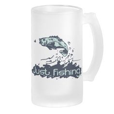 Just fishing world's best dad and fisherman personalized glass coffee mugs. Fish art and design by www.sarahtrett.com