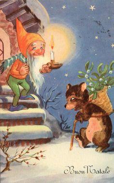 Winter Christmas Scenes, Christmas Fonts, Christmas Fairy, Vintage Christmas Cards, Kids Christmas, Norwegian Christmas, Owl Card, Vintage Fairies, Gnome