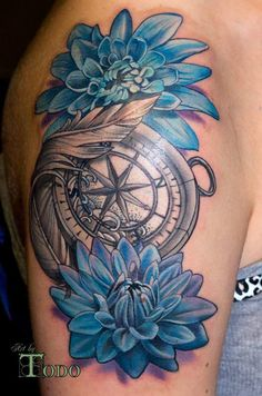 Blue Dahlia And Compass Tattoo On Shoulder by Todo                              …