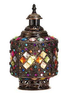Moroccan Treasures  Hurricane Beaded Table Lamp