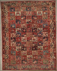This beautiful Handmade Knotted Rectangular rug is approximately 12 x 15 Antique area rug from our large collection of handmade area rugs with Persian Bakhtiari style from Iran/Persia with Wool