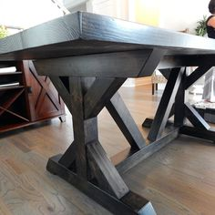 Chavers X Trestle Table with plank style top finished in Ebony stain by Minwax Diy Outdoor Table, Diy Outdoor Furniture, Diy Table, Rustic Table, Wood Table, Dining Table, Trestle Tables, Bar Tables, Granite Kitchen Table