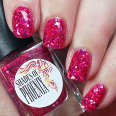Berry Daiquiri is a delightful #pink #jelly #glitterbomb from the #shadesofphoenix Cocktail Hour collection released last night! Also @shadesofteebee has had this on her nails for 3 weeks with no chips! #notd #nailpolish #aussieindiepolish #aussieindies #indienailpolish #indiepolish #aipaslove #indieswatch #presssample  @shadesofphoenix