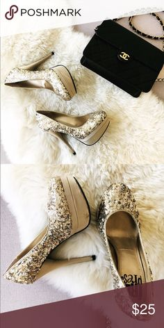 Sparkly Stiletto Heels Glam heels perfect for holiday parties or NYE. Free Press Shoes Heels