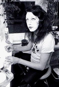 Ace Frehley of KISS applying his makeup backstage......................