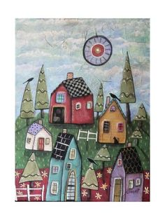 Giclee Print: Prim Village 1 by Karla Gerard : Canvas Art Prints, Fine Art Prints, Framed Prints, Karla Gerard, Landscape Quilts, Primitive Folk Art, Naive Art, Whimsical Art, Fabric Painting