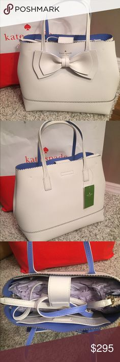 """🌺JUST IN🌺Kate Spade Small Giorgia Bag🌺 ⭐️NWT Kate Spade Small Vanderbilt Place Giorgia Tote🔹Gorgeous White pebbled leather outside lined in a beautiful periwinkle on the inside🔹Magnetic snap closure Bow in White on the front of the bag🔹1 zippered and 2 slip pockets inside🔹6"""" Strap drop w/ adjustable Crossbody strap included as well🔹Pretty scalloped edging across the top Dimensions 12L x 9.5H x 6W🌺NEW SPRING LINE ..THIS BAG JUST CAME OUT 1/6/2017.. 🚫NO TRADES🚫NO LOWBALLS💥Can do…"""