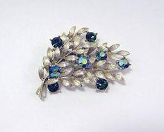 a3c14f436e3 Lisner brooch branches w/ green blue AB rhinestones silver Friend Jewelry,  Etsy Vintage,
