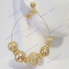 CLIP ON 2.5 in Filigree GoldT Rhinestone Hoop Handmade Non-Pierced Earrings V27 #Handmade #Hoop