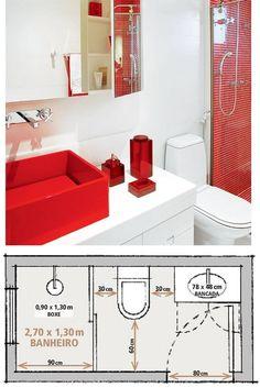 Um blog sobre coisas lindas e bem mulherzinha. Small Bathroom Plans, Small Bathroom Layout, Bathroom Floor Plans, Tiny House Bathroom, Bathtub Plumbing, Small Shower Room, Small Toilet, Bedroom Bed Design, Bathroom Interior Design