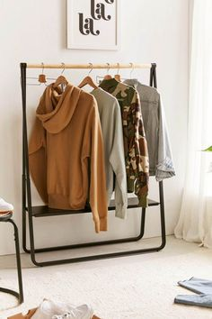 Check out Cameron Low Clothing Rack from Urban Outfitters Urban Outfitters Zimmer, Urban Outfitters Room, Tidy Room, Small Room Design, Garment Racks, Black Furniture, Small Furniture, Affordable Furniture, Furniture Websites