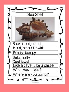 Poetry Writing: Kids create free verse poems that are breath-taking display pieces. Creative, divergent thinking pops off the page. Complete writer's workshop lessons—16 in all—will build poetry step-by-step. Lists, charts and examples support each lesson. For K - 5; Sea Shell.