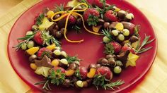 Chocolate-Dipped Fruit Wreath  /  Satisfy the desire for healthful fruit and the craving for chocolate in a spectacular fruit ring.