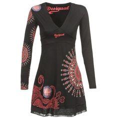 Robes+courtes+Desigual+IDORA+Noir+/+Rouge+71.09+€