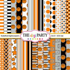 basketball digital paper orange Black and white by TheDigiParty