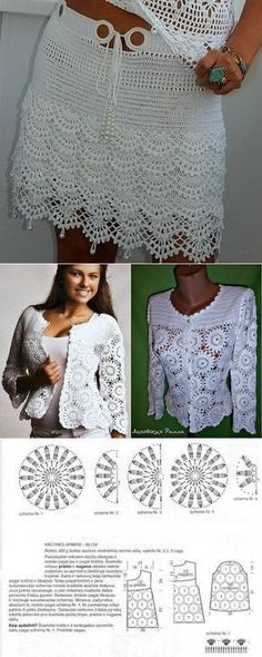 Crochet Patterns Skirt Here there is a nice women crochet jacket and women crochet skirt. Débardeurs Au Crochet, Gilet Crochet, Crochet Shrug Pattern, Crochet Jacket, Crochet Woman, Crochet Cardigan, Irish Crochet, Crochet Patterns, Crochet Stitches