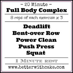 A 20 Minute Full Body Complex + A Mexican Iced Chocolate Smoothie Recipe Best Workout Routine, Wod Workout, Boxing Workout, Aerobics Workout, Power Training, Training Workouts, Fitness Workouts, Total Body, Full Body