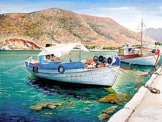 Pantelis D.Zografos (1949 - .... Greek)  Painter of the Greek islands,Watercolour Paintings  ia