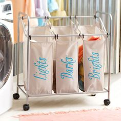 Add style and organization to your laundry room. Paint labels onto a plain clothes hamper with Lowe's free stencils! Laundry Sorting, Laundry Bin, Laundry Hamper, Laundry Cart, Laundry Rooms, Laundry Decor, Laundry Basket Organization, Bag Organization, Organizing Drawers