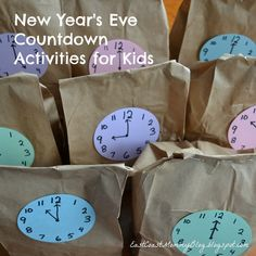 Cute idea to help kids Celebrate New Year's Eve. Fill each bag with a fun activity or snack and open one bag every hour till midnight (or bedtime). #KidsNewYearsEve