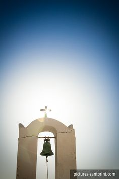 Bell tower against the afternoon sun. These kind of towers are typical for Greek architecture. Santorini Island, White Building, Neoclassical, Architectural Elements, Beautiful Islands, Facade, Greece, Mansions, Abstract