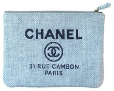 Chanel Canvas Denim Deauville Blue Clutch