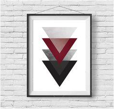 Geometric Printable Art Arrow Print Burgundy Print Red Wall Art Grey Print Triangle Poster Modern Art Grey & Red Home Decor Scandinavian Art