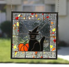 HALLOWEEN CAT-Stained Glass Window Panel with by gallerydelsol