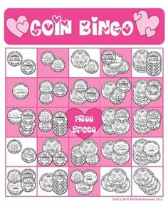 Valentine's Day Bingo Cards - Adding Coins - 30 Unique Cards! Review Money Math and Counting Counting with this fun game. Use conversation hearts instead of counters and fill in the heart instead of the whole card to make Valentine's Day extra special :)