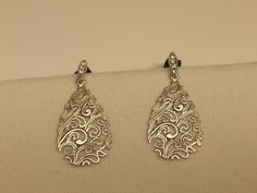 Silver Filagree Drop Earring with CZ detailed posts by MDEBRJewelryDesigns on Etsy
