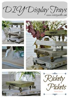 Home Remodel Steps Rustic Trays - Farmhouse Style - Easy and Fun to Make - Rickety Pickets.Home Remodel Steps Rustic Trays - Farmhouse Style - Easy and Fun to Make - Rickety Pickets Rustic Crafts, Wooden Crafts, Rustic Decor, Rustic Wood, Muebles Shabby Chic, Farmhouse Style, Rustic Style, Farmhouse Decor, Diy Furniture