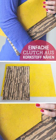 DIY-Nähanleitung: Clutch nähen aus Korkstoff, einfache Nähanleitung / diy sewing tutorial: easy diy, sew a clutch with cork fabric via DaWanda.com