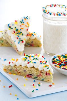 Sugar Cookie Bars will make you SO happy! Just look at those fun sprinkles!
